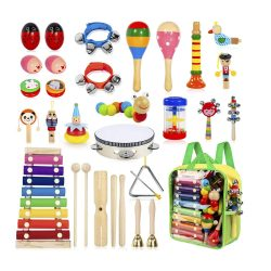 toptopdeal Ailuki 24-Piece Toddler Musical Instruments Set- Wooden Percussion Set- Drum Set- Rhythm Toys for Small Children