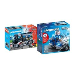 toptopdeal Playmobil 9360 – SEK Truck with Light and Sound Game & 6876 – Motorcycle Strip with LED Flashing Light