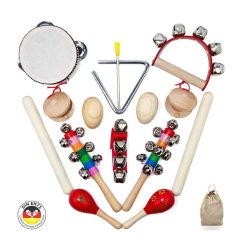 toptopdeal SCHMETTERLINE® Musical Instrument Set for Children Made of Wood – 15 Pieces Music Toy with Premium Rhythm Instruments from 3 Years for an Exciting